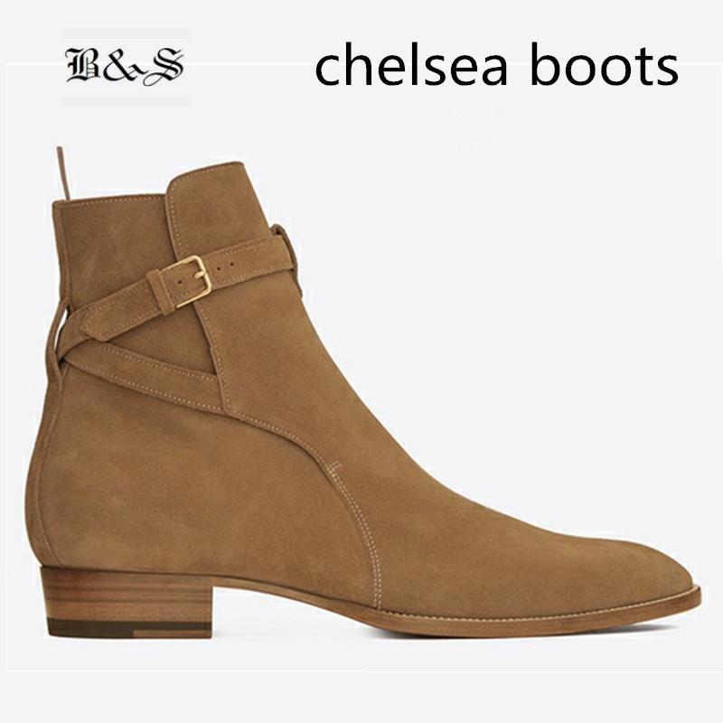 Черный и Street острый носок Wyatt MID Туфли с ремешком и пряжкой Для мужчин замшевые ботинки челси из натуральной кожи благородный бутик ботинки н