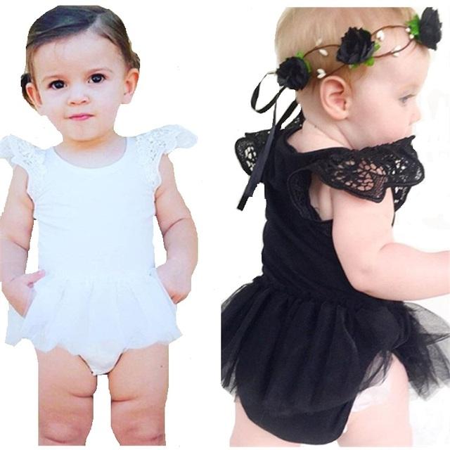 Moda macacão de Recém-nascidos Do Bebê Do algodão Romper menina Macacões de verão do bebê roupas de menina vestido de renda para os bebés