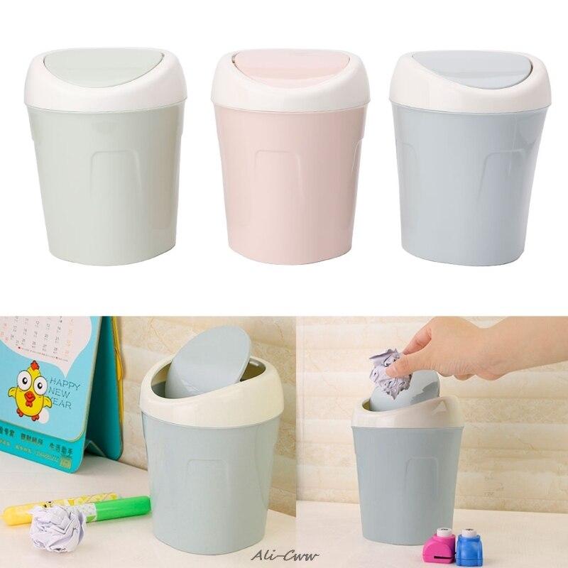 Mini Rolling Cover Desktop Garbage Can Trash Waste Bin Basket Dustbin Container Home Car Case Ash Urns