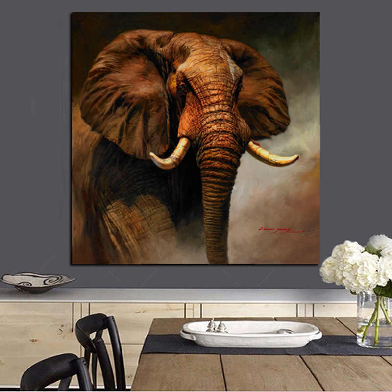 Print Abstract Wall Art Canvas African Elephant Landscape Oil Painting on Canvas Modern Animal Picture Poster For Living Room