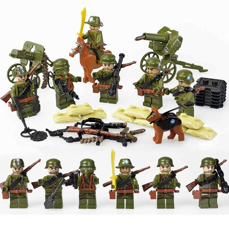 6pcs ww2 Anti-Japanese The Long March Military Minifigure Building Blocks Army Toys For Children Gift LegoINGlys Solider Bricks