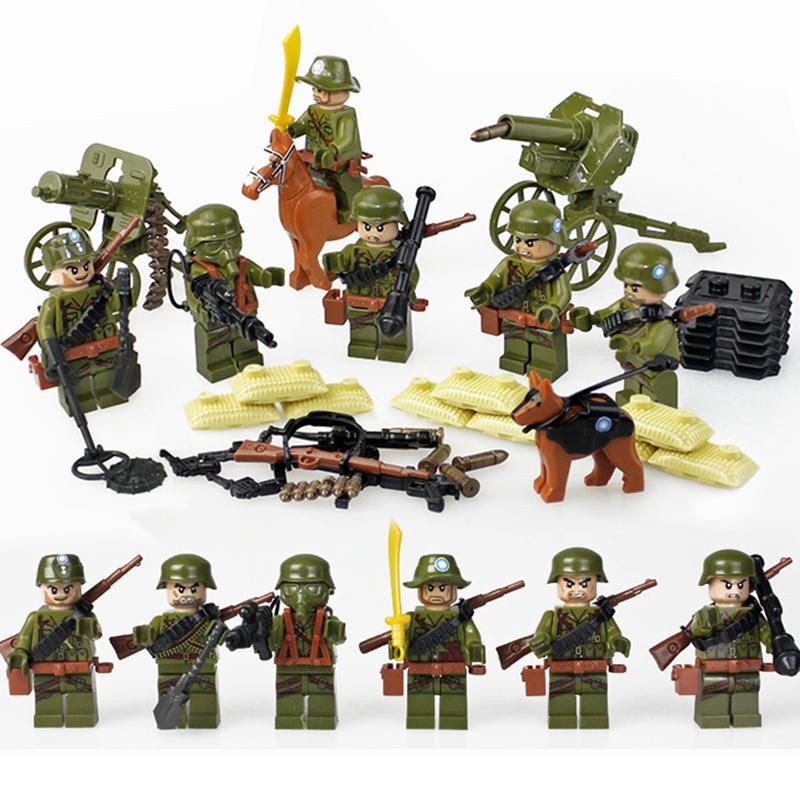 6 pièces ww2 Anti-japonais la longue marche figurine militaire blocs de construction armée jouets pour enfants cadeau LegoINGlys soldat briques