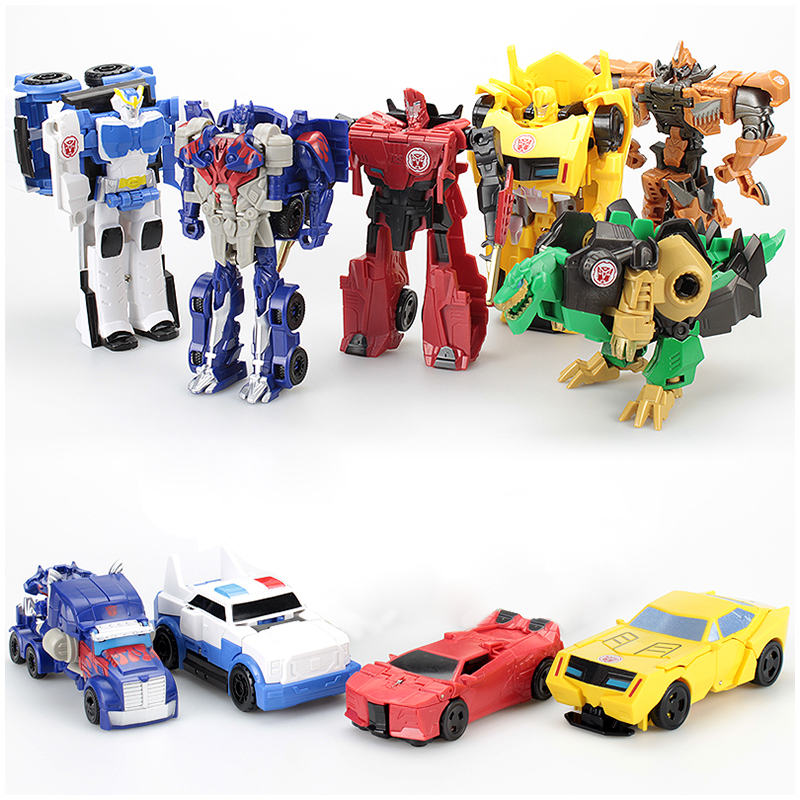 Kids Transformation Robot Car Anime Action Figure Toy Plastic Mini Deformation Robot Classic Education Toy For Children Boy Gift