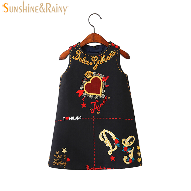Brand Toddlers Girls Dress Pattern Princess Kids Dresses For Girls Cotton Sleeveless Dress Party Children Clothing toddlers girls dots deer pleated cotton dress long sleeve dresses page 10