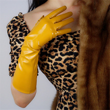 Women Patent Leather Gloves 40cm Long PU Simulation Bright Yellow Egg Ladies QPJH05