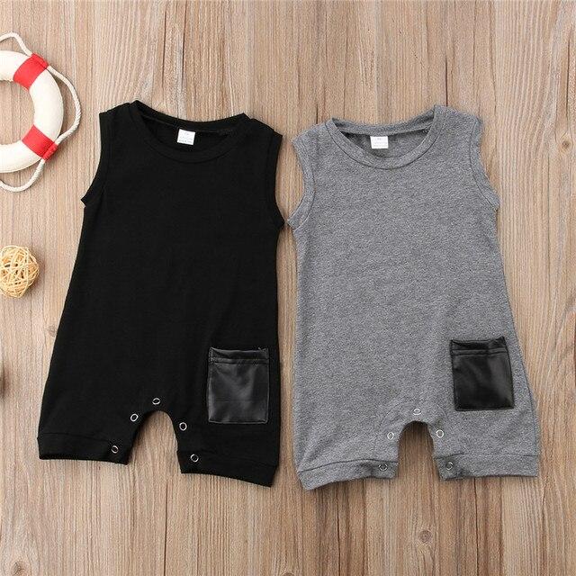 Mùa hè Không Tay Pocket Bông Jumpsuit Sunsuit Boy Rompers Quần Áo Giản Dị Quần Áo Dễ Thương 0-24 M Em Bé Trai Bé Romper