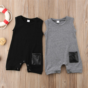 Summer Sleeveless Pocket Cotton Jumpsuit Sunsuit Boy Rompers Clothing Casual Cute Clothes 0-24M Toddler Kids Baby Boys Romper