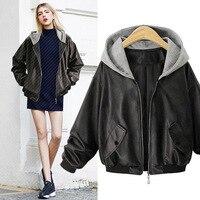 2017 Hoodie Leather Jacket Women Long Sleeve Black Leather Hooded Jacket Front Pocket Slim Fit Ladies