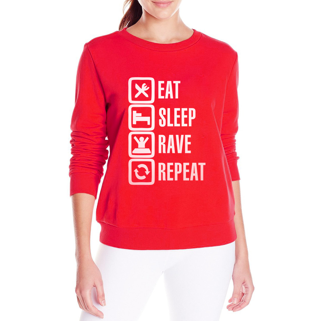 eat sleep rave repeat letter print 2017 autumn women sweatshirt hip hop hoody fashion brand clothing tracksuit black funny suit
