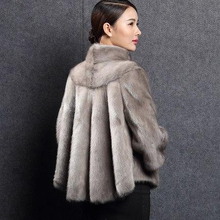 2018 Femmes Blanc Courte Vison De Montant Col Fourrure noir Manteau Entier D'hiver Survêtement Vêtements gris Peau Manteaux Pardessus Veste Style grTFOdwnxg