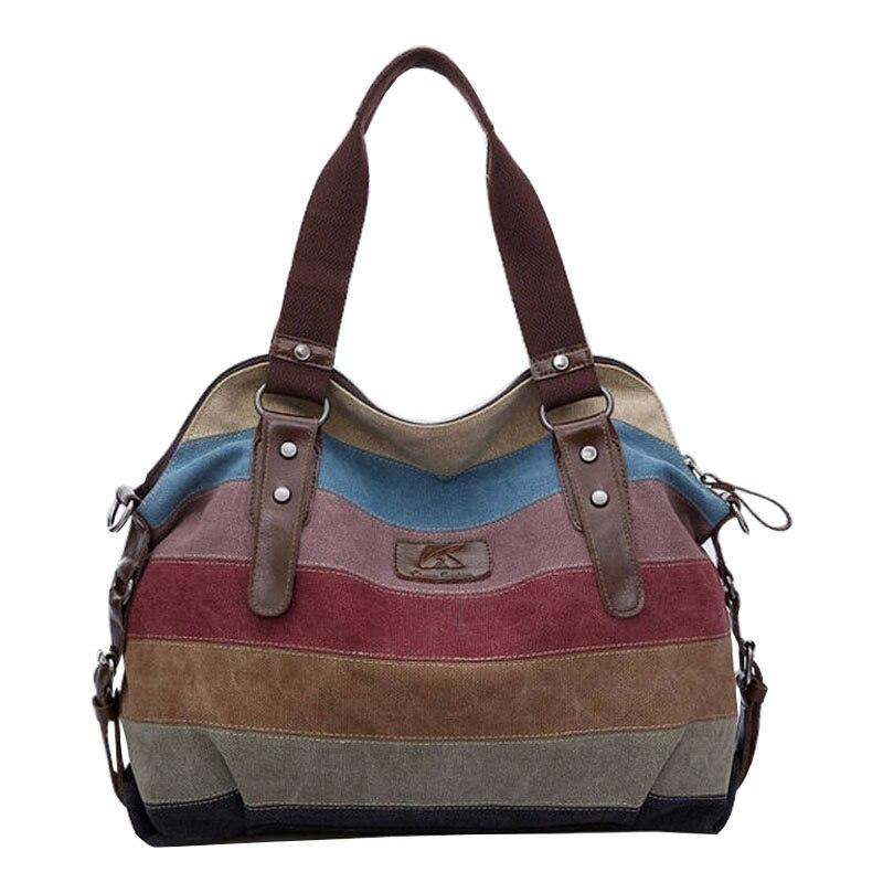 Famous Brand Women Canvas Handbag Leather Shoulder Messenger Bag Stripe Crossbod