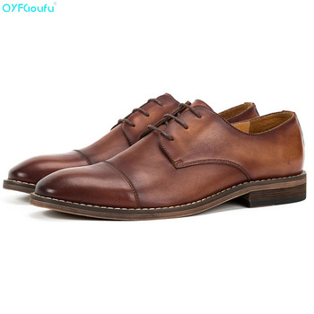 QYFCIOUFU Designer Formal Oxford Shoes For Men Genuine Leather Italy Round Toe Mens Dress Shoes 2019 Shigh Quality Vintage Shoes