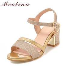Meotina Women Sandals Block Heels Lady Party Shoes Glitter High Heels Summer Shoes Peep Toe Buckle Gold 2018 New Big Size 33-43