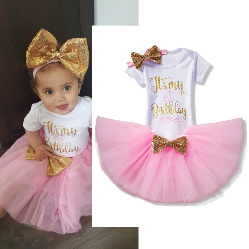 My Little Girl First Birthday Party Clothing Sets Infant Girl Causal Wear Baby Gold Sequin One Birthday Cake Outfits Sets 6M 24M