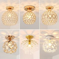 Modern Crystal Led Ceiling Lamps Creative Simple Cage E27 Ceiling Light for Living Room Foyer Lustre Fixtures Restaurant Coffee