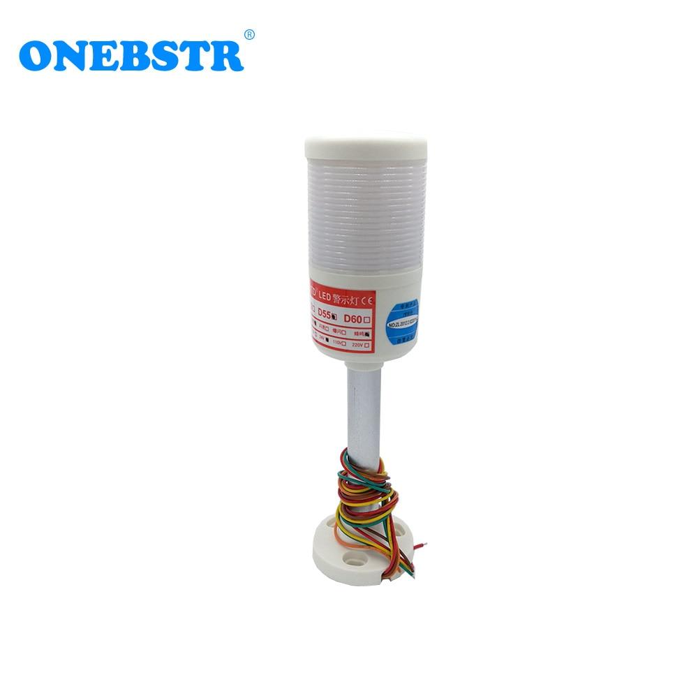HNTD 24V LED Indicator Warning Signal Light Monolayer Multicolor Rod Type Often Bright Buzzer Flashing TD55 Free Shipping