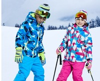 2018 New Free Shipping Boys/girls Ski Suit Waterproof Windproof Snow Pants+Jacket a Set Winter Sports Child Thickened Clothes