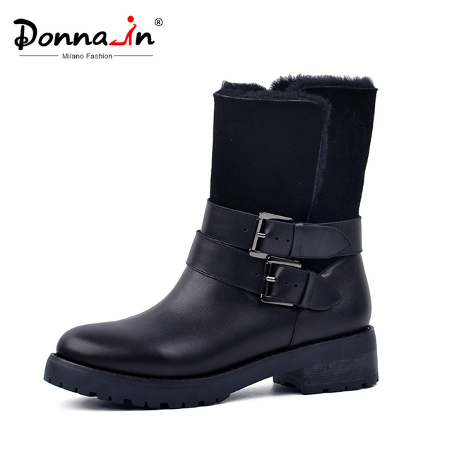 Don-2019 kış Botları Kadınlar Gerçek Kürk Orta buzağı Çizmeler Sıcak Yün Düşük Topuk kar ayakkabıları Kalın Taban metal Toka Bayan Ayakkabıları