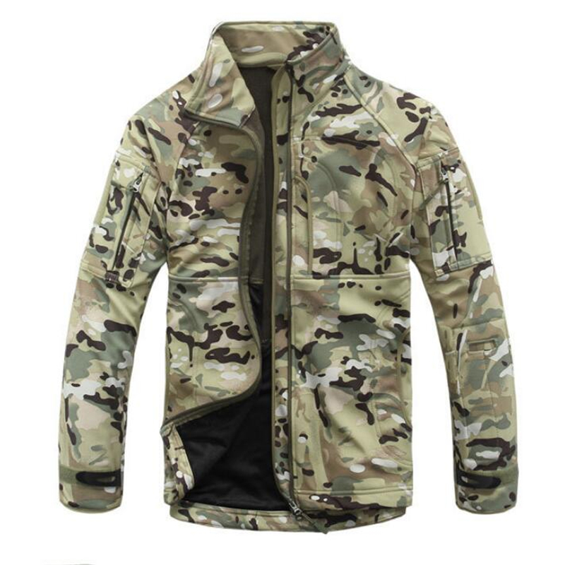 Tactical Military Fleece Jacket Men Thermal Shark Skin Patch Camp Hunt Warm Outwear Army Clothes Camouflage Windbreaker Jacket
