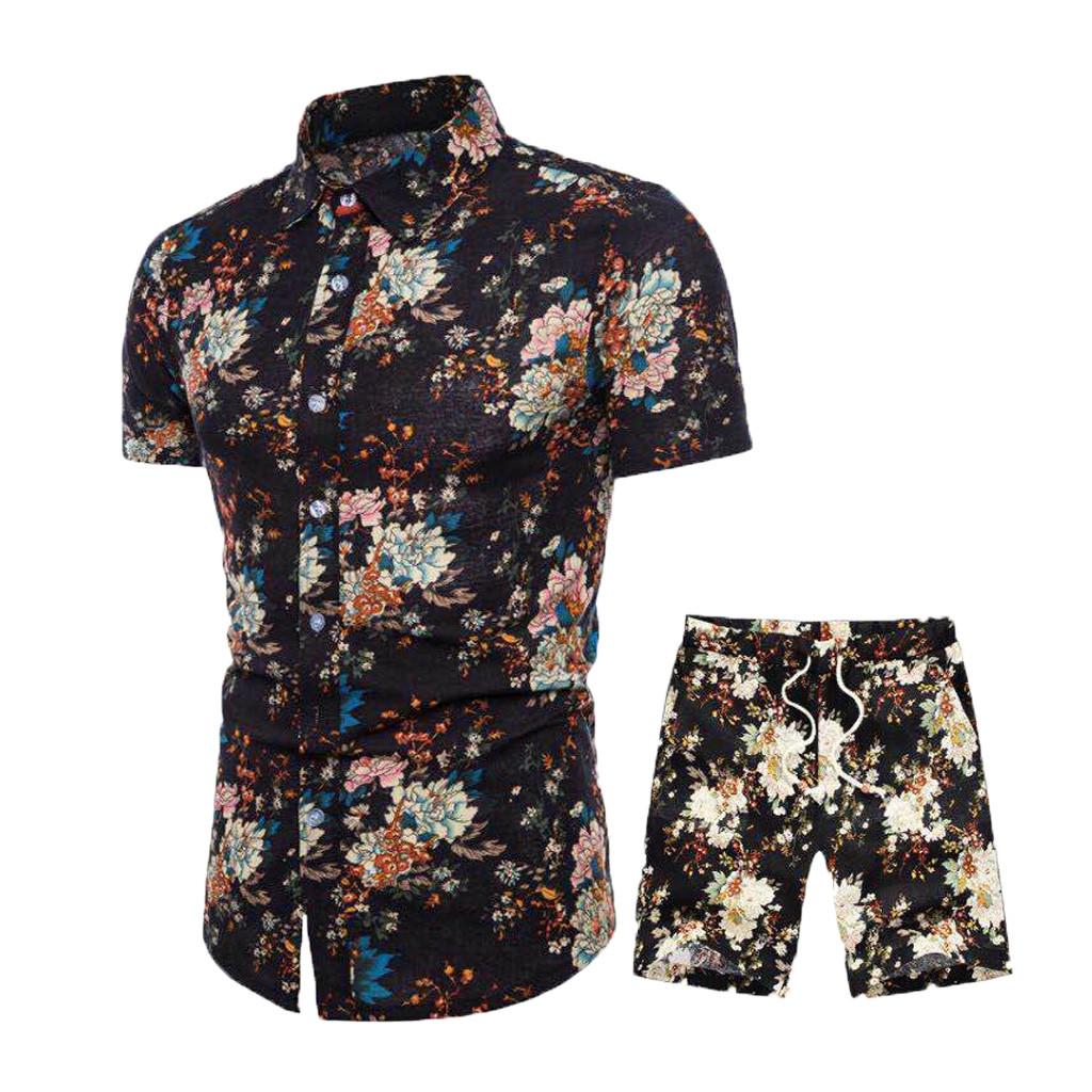 Summer New Men's Suit Collar Casual Comfortable Short-sleeved Shorts Print Set Y610