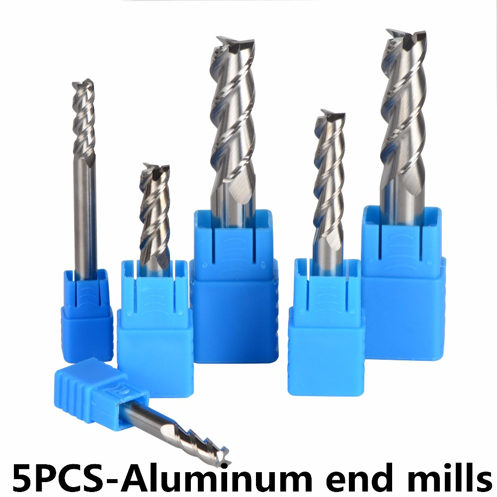 5pcs/Lot Tungsten Steel End Mills 3-Flute Diameter 4~12mm Flattened Head High Quality HRC45 CNC Milling Cutters for Aluminum free shipping 2pcs 4 flute cobalt hss counterbore end mill m4 4 2 7 4 end mills sinkholes drilling head milling cutters