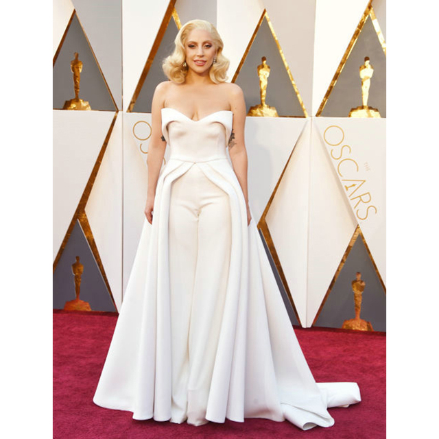 2017 long Lady Gaga Celebrity Dresses V Neck White Formal Evening ...
