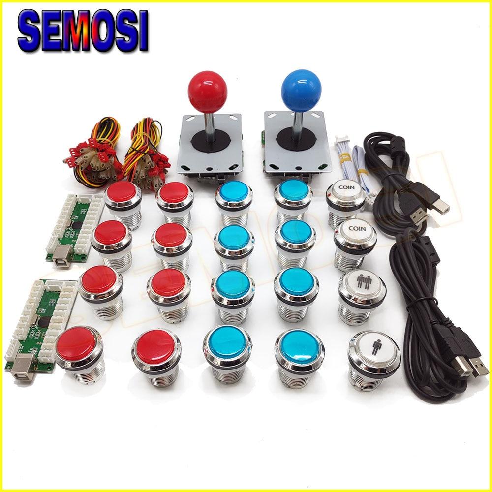 2 Player Classic Arcade Contest DIY Kits USB Encoder To PC Joystick Chrome Plating LED Arcade
