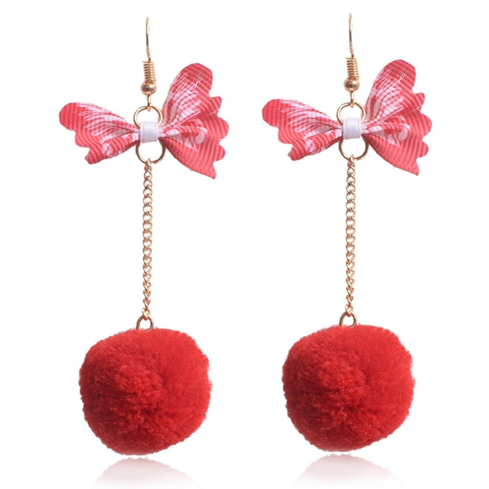 New Alloy Butterfly plush ball earrings With Gold Color Wing Blue Plush Ball Pendants Fashion Jewelry Sweet Earrings For Women