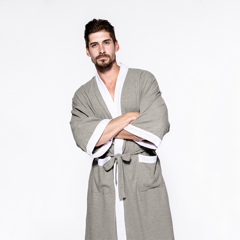 Men and Women Sleepwear Nightwear Kimono Robe Soild Winter Autumn Casual Cotton Bathrobe ...