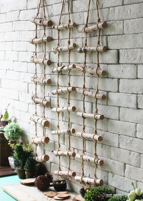 Vintage Home Decor Rural Natural Wooden Hemp Rope Wall Hanging Ancient Ways Stairs Cafe Clothing