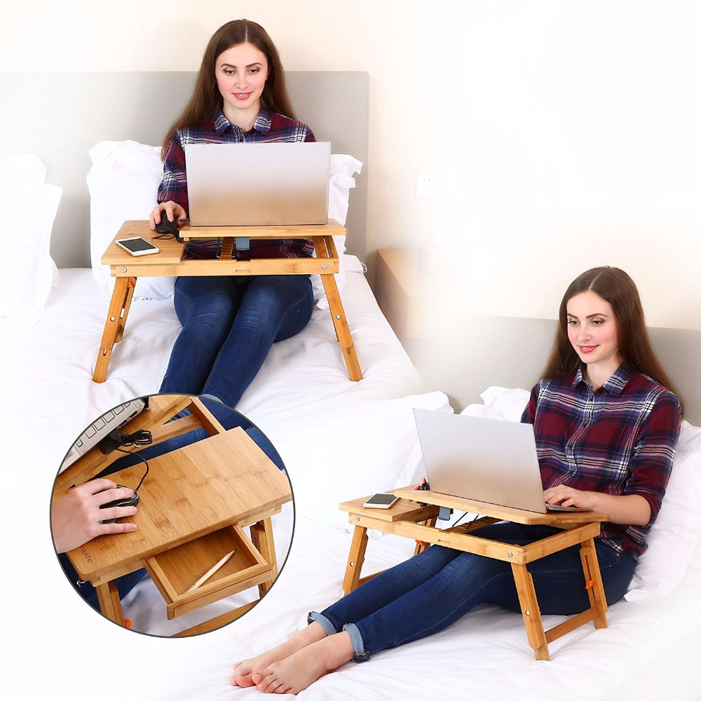 Laptop Desk  Kids Table Adjustable 100% Bamboo Foldable Breakfast Serving Bed Tray Tilting Top Drawer TV Dinner Tray