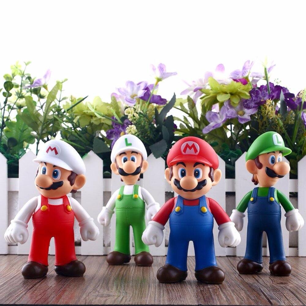 13cm 4Pcs Mario Bros Kids Funny Lot Nintendo Super Mario Bros Brothers Luigi Brinquedos Mario Action</