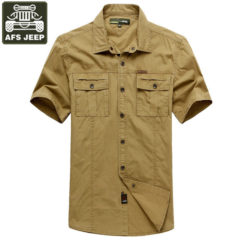 2dc01a017a346 AFS JEEP Shirt Men Denim Shirt Camisa Masculina Plus Size 5XL Men Shirt  Brand clothing Solid 100% Cotton Camisas Hombre Vestir-in Casual Shirts  from Men s ...