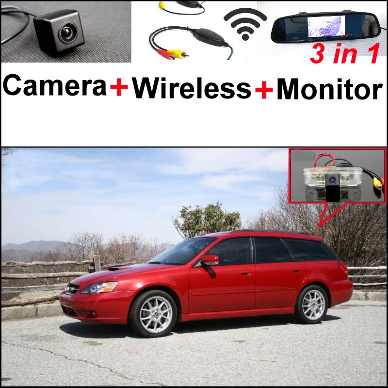 3 in1 Special Rear View Camera + Wireless Receiver + Mirror Monitor Easy DIY Parking System For Subaru Liberty MK4