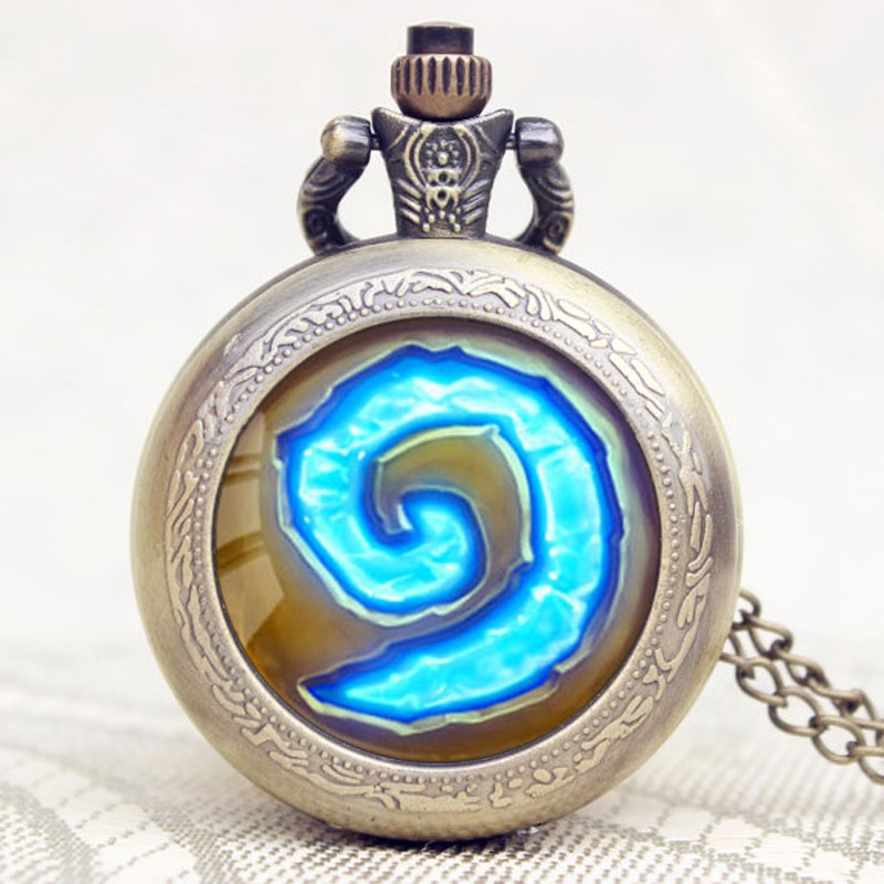 Antique Hot Game WoW World of Warcraft Hearthstone Theme Quartz Pocket Watch Necklace Pendant Chain Gifts old antique bronze doctor who theme quartz pendant pocket watch with chain necklace free shipping