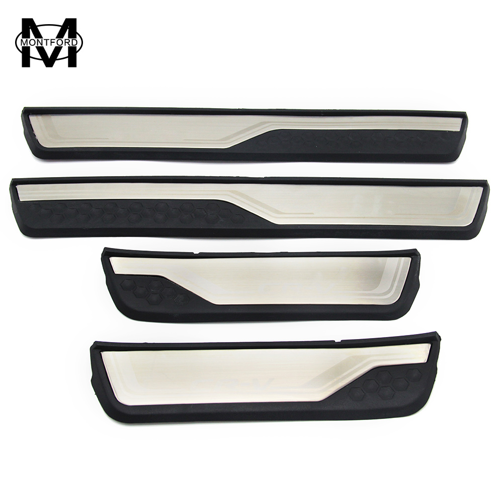 MONTFORD For Honda CRV CR V 2017 Stainless Steel External Door Sill Protector Welcome Pedals Scuff