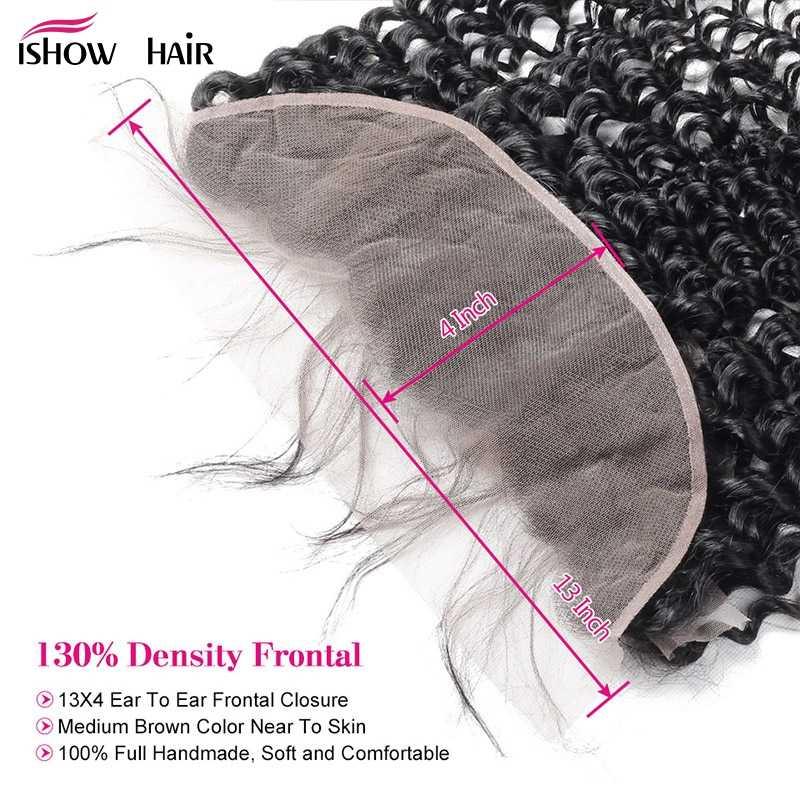 Ishow волна воды Связки с фронтальной предварительно сорванные индийские волосы 3 пучка с закрытием не Реми человеческие волосы пучки с закрытием