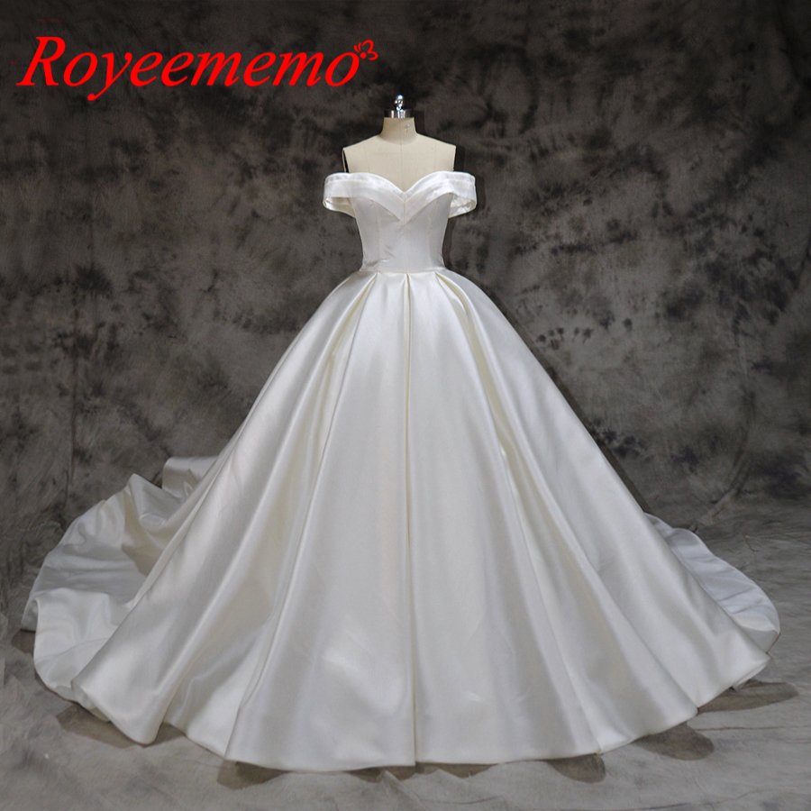 new design satin wedding dress off the shoulder short sleeves wedding gown custom made factory wholesale