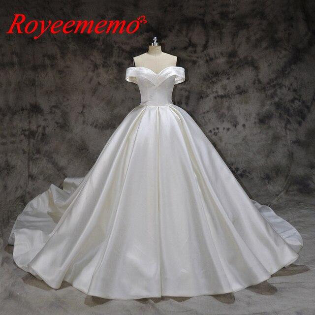 Robe de mariée en satin, nouvelle conception, robe de mariée, épaules dénudées et manches courtes sur mesure, prix usine gros, nouveau design
