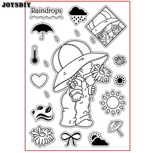 RAINDROPS CUTE GIRL TAKE FLOWER SUN Scrapbook DIY photo cards account rubber stamp clear stamp transparent  Handmade card stamp