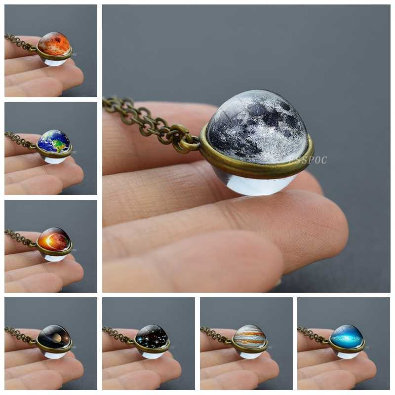 Solar System Moon Earth Mars Jupiter Planet Necklace Double Side Glass Ball Necklace Pendant Outer Space Jewelry