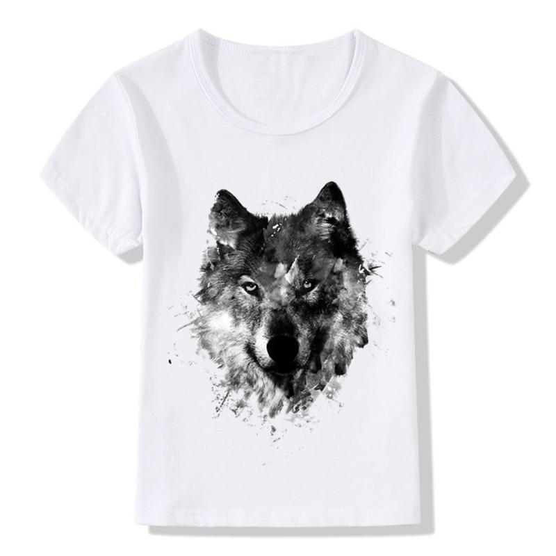 Children Animal Wolf Hardliner Print T shirt Kids Summer Tops Girls Boys T-shirt Casual Baby Clothes,HKP352 худи print bar wolf