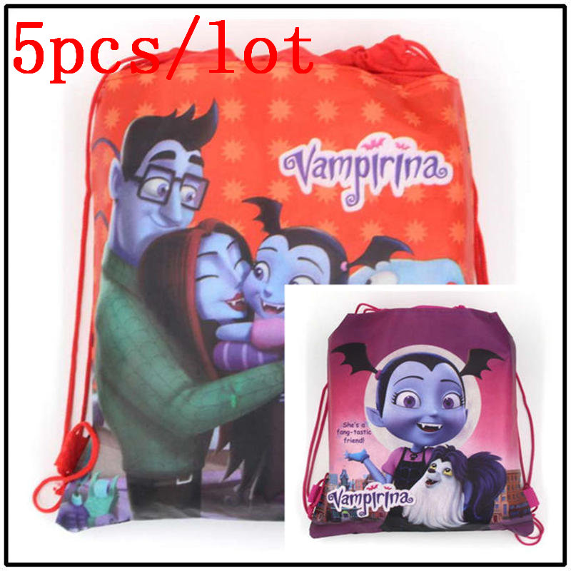 5pcs/lot Girls Favor Drawstring Bag Vampirina Theme Portable Non-Woven Makeup Bag Girl Fabric Travel Pouch Storage Shopping Bag5pcs/lot Girls Favor Drawstring Bag Vampirina Theme Portable Non-Woven Makeup Bag Girl Fabric Travel Pouch Storage Shopping Bag