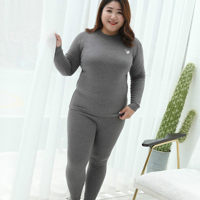 2ab01c9497545 UIECOE Plus Size Thermal Underwear for Women Cotton Long Johns Set  Ultra-Soft Base Layer Top   Bottom 2 Piece Set 3XL-7XL