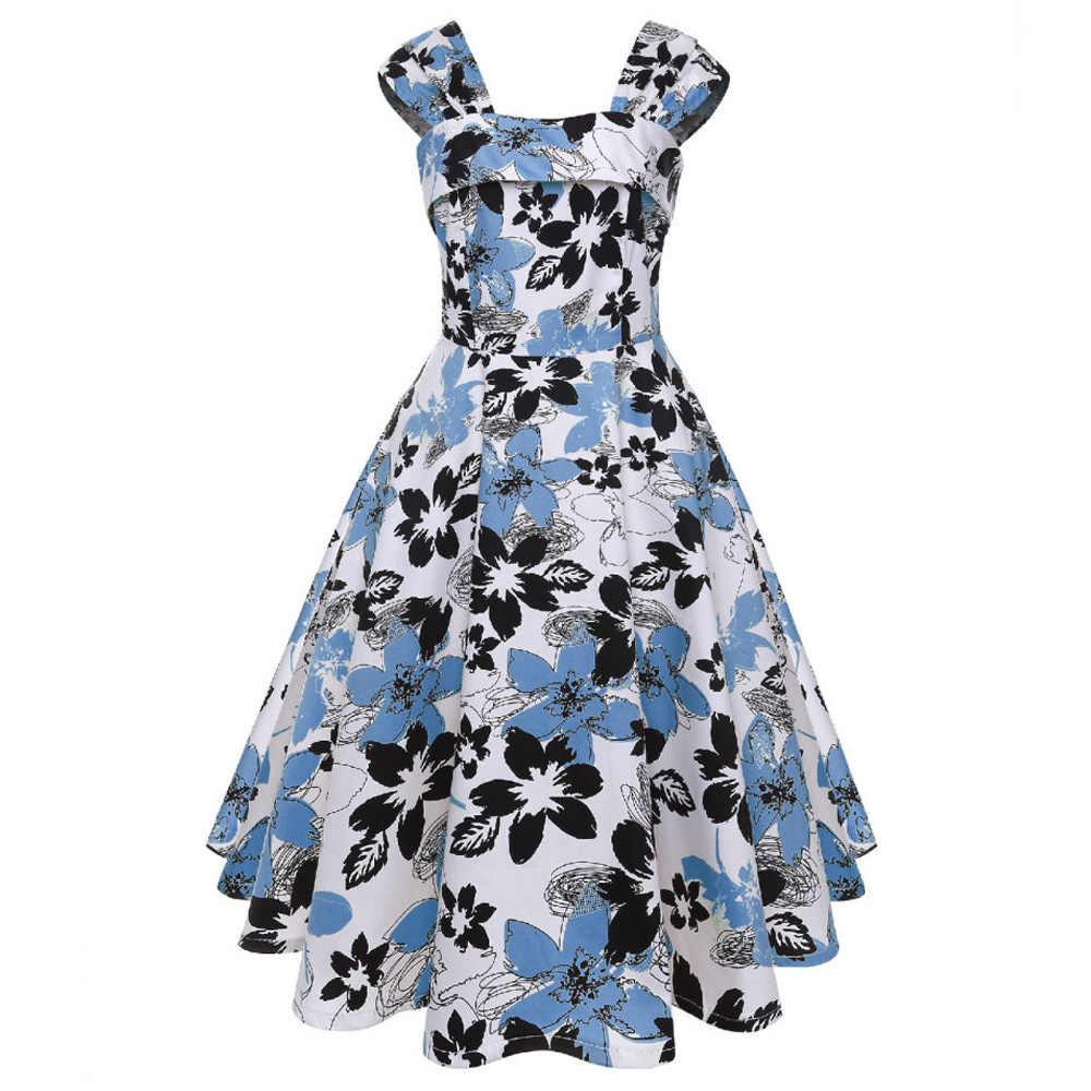 Joineles женское винтажное платье с цветочным принтом 1960 s, летнее платье без рукавов с квадратным воротником, хлопковая туника, вечерние платья синего цвета