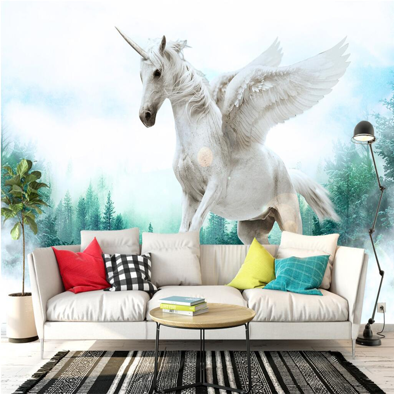 Custom Embossed Wall Paper Dream Pegasus Forest 3d Wall Murals Study Kitchen TV Background Wall Mural Wallpaper Extra Thick велосипед pegasus piazza gent 7 sp 28 2016