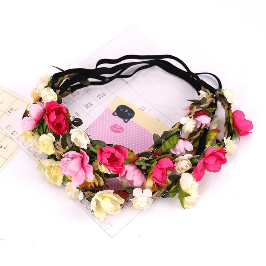 Fashion Women Bohemia Handmade Flower Crown Headband Lady Girls Wedding Wreath Bridal Headdress Hairband Hair Accessories
