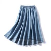 KYQIAO women denim skirt faldas mujer moda 2019 юбки женские female autumn Japan style elastic waist denim skirt