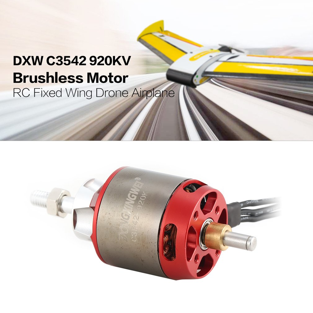 DXW C3542 920KV 2-4S 6mm Outrunner Brushless Motor for RC FPV Fixed Wing Glide Drone Airplane Aircraft Plane Warbirds free ship rc airplane xxd a2814 outrunner brushless motor 1000 1400kv for rc aircraft plane 3d plane airplane