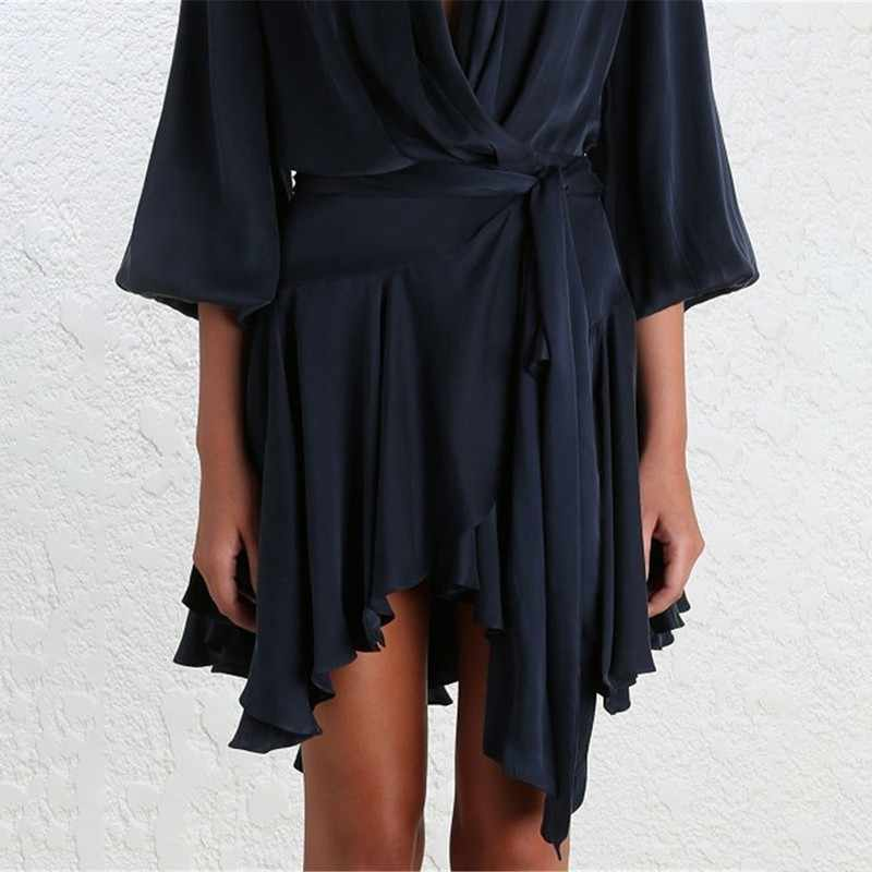 Лето пикантные V образным вырезом шифоновые сексуальные платья насыщенных Для женщин свободное кружевное платье высокого пояса с гофрированным воротником, женские платья 2019 Мода